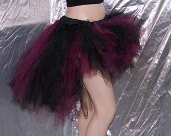 Burgundy Wine Black High Low Festival Boho rave Knee Length Bustle TuTu Skirt MTCoffinz --- Adult All Sizes