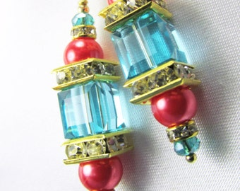 Coral and Blue Turquoise 8mm Faceted Swarovski Cube and Freshwater pearl earrings 14k GF wires