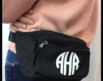 Custom Black Fanny Pack with Free Monogram, Greek Letters or Text