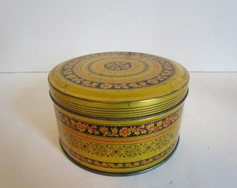 Vintage Small Round Metal Tin Gold And Black Patterned Candy Mint Tin Vintage Gifts