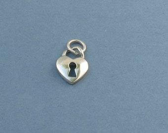 Heart Lock Charm - Sterling Silver - 11x14mm - Sold Per Piece