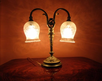 French Art Nouveau Double Shade Table Lamp- Acid Etched Crystal Shades-Excellent Condition - French Lighting - French Home Decor