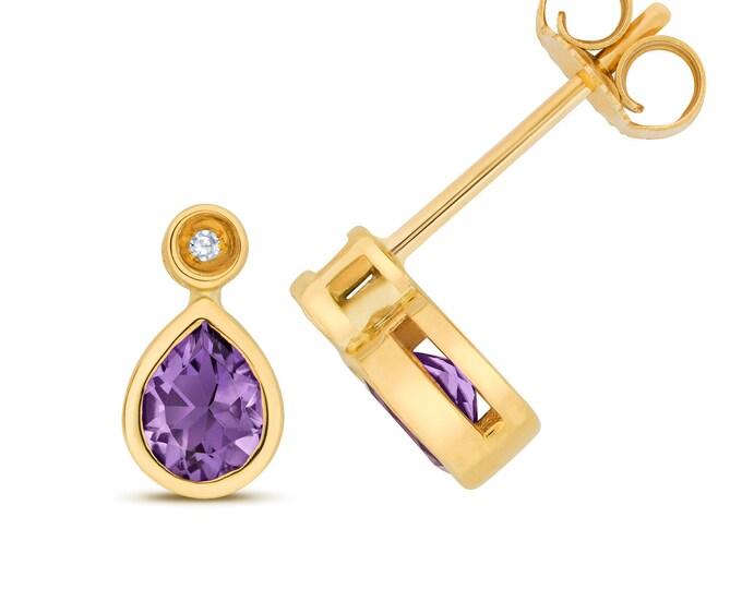 9ct Gold Diamond & Pear Cut 5x4mm Purple Amethyst Stud Earrings