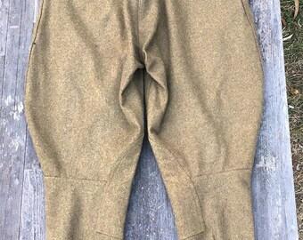 WW1 Wool Army Field Cavalry Trousers Pants Jodhpurs Breeches. Leg Lacing, Button Fly