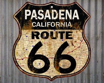 Pasadena, California Route 66 Vintage Look Rustic 12X12 Metal Shield Sign S122092