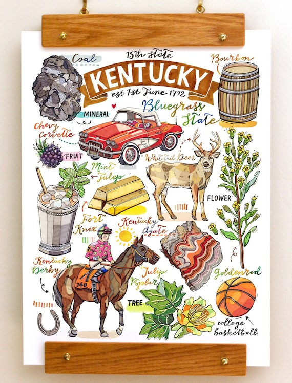Kentucky State Print Bluegrass State State Symbols Kentucky