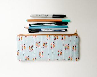 Rainbow Arrows Pencil Case - Zipper Pouch - Makeup Bag - Back to School Supply - Teal Mint Blue