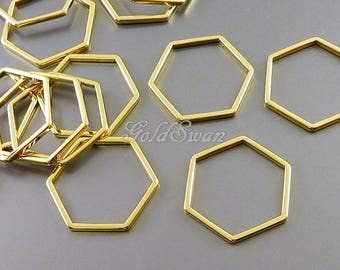 4 pcs shiny gold 17mm open honecomb pendants, geometric hexagon shaped charms 937-BG-17