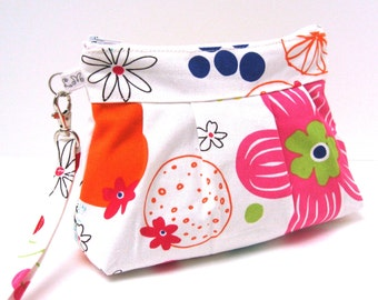 Zippered Wristlet Clutch Purse Pink Orange Blue Flowers on White