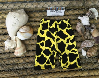 3-6 months yellow animal print spandex shorts , pants, kids clothes, baby items, toddlers clothes, childrens shorts, fun