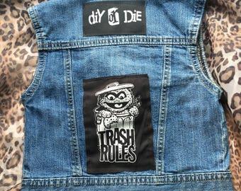 Denim Kids Punk Vest, DIY OR DIE, Oscar the Grouch, Trash Rules, Studded, Size 5T