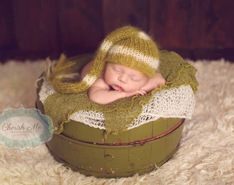 Newborn Elf Hat, Knitted Mohair Baby Girl Boy Hat,Stripe Green Ivory, Munchkin hat, Knit baby hat, Photo prop, Photography,Beanie