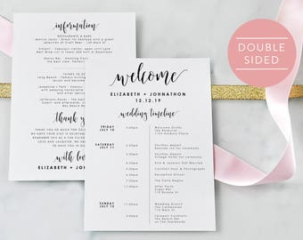 Wedding Itinerary-Editable PDF-Welcome Bag-Wedding Timeline-Welcome Letter-Wedding Favor-Wedding Printable-PDF Instant Download-#SN022_IT