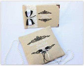 Ring Bearer Pillow and wedding guest book set, guest book wedding, wedding decoration, personalized pillow, Wedding Pillow, KKweddings