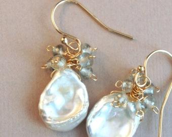 handmade 14K gold filled, microfaceted aquamarine and keshi pearl earrings