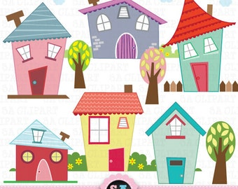 """Little Houses Digital Clip Art """"HOUSES CLIP ART"""" Set, Houses Clipart, Cute House, perfect for scrapbooking,invitations,party card Bd001"""