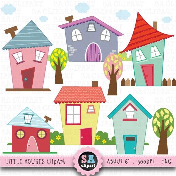 little houses digital clip art houses clip art rh etsy com clipart of homes clipart of houses black and white