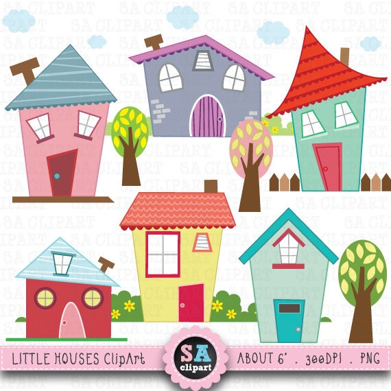 little houses digital clip art houses clip art rh etsy com clipart houses for sale clipart houses images