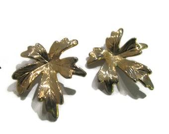 Detailed veined oak leaf gold pierced earrings. Each 3/4 inch.