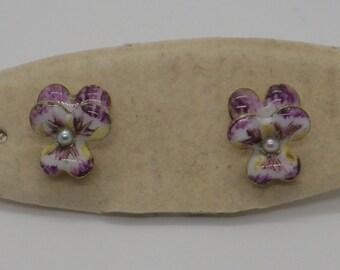 14K Enamel Pansy Art Nouveau Earrings