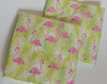 1 Set FLAMINGO Napkins - Flamingo Party, Lets Flamingle Party Decor, Pink Green White, Baby Shower, Summer Birthday, Tropical Party, Luau