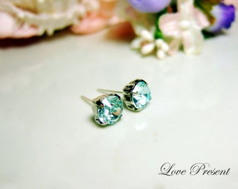 Swarovski Crystal Stud Typical 1 Carat Pierced Earrings - Bridesmaid Gift. Simple Modern Jewelry - Color Light Azore