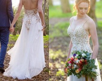 Corset Wedding Dress, Open Back Wedding Dress, Custom Made Wedding Dress, Unique Wedding Dress, Wedding Gown, Lace Wedding Dress