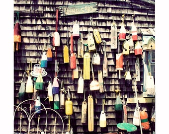 Hanging Buoys Photograph, Nautical coastal photography, seaside photography, Dark Natural Wood, Cape Cod New England, rustic cottage decor