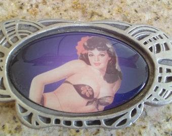 Vintage pinup girl belt buckle
