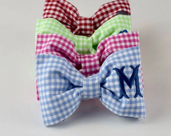 Monogrammed Dog Bow Tie || Light Blue Gingham || Personalized Pet Bow || Custom Puppy Gift by Three Spoiled Dogs