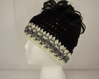 Messy Bun Hat, Crochet Messy Bun Beanie, Black Gray Creme, Womens messy bun hat, Girls Juniors teen, Free Shipping