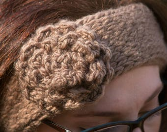 "Handmade Crochet Ear Warmer Headband ""Rustic Flower"" - Lightweight Ear Warmer - Fall/Winter accessory"
