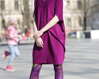 Purple Dress, Women Dress, Trendy Plus Size Clothing, Short Sleeve Dress, Fashion Dress, Bohemian Clothing, Oversized Dress,Minimalist Dress