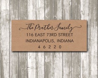 Return address label - custom return address label, brown kraft label, sticker, rectangular label, wedding announcements - SET OF 30