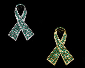 Crystal Emerald Green Ribbon Bow Hepatitis B Liver Cancer Awareness Brooch Pin Silver Tone Gold Tone