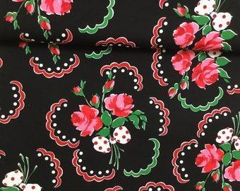 Retor Florals Francis Black Color, Retro Florals by Michael Miller Collection Quilt Cotton
