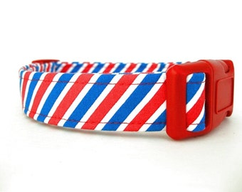 Red White and Blue Dog Collar