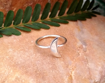 925 Sterling Silver - Half Moon Ring - Simple Silver Ring - Silver Jewelry - Gift For Her