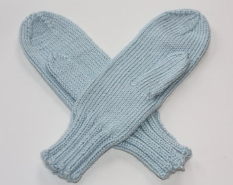 Blue Mittens for Adults - Traditional Mittens - Old Fashioned Mittens - Soft Blue Adult Mittens - Knit Mittens - Knit Light Blue Mittens
