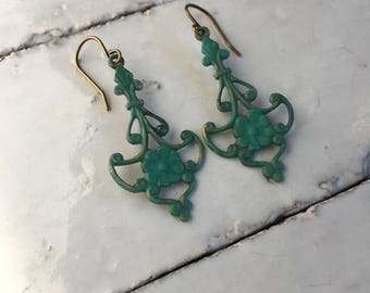 Victorian Earrings Verdigris Flower Earrings Patina Jewelry