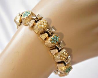 Vintage Bracelet Capri Link Goldtone Faux Turquoise Faux Pearl 1950's