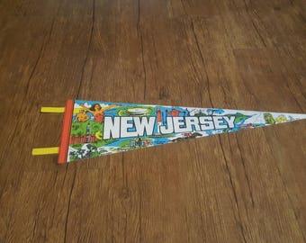 Vintage New Jersey 1970s Pennant - Atlantic City - Jersey Shore - Princeton