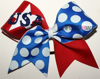 AWESOME U.S.A. Cheerleading or Holiday Bow by FunBows !! Great for Parades !