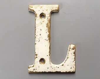 Vintage Letter L, Decorative Letter, Brass Display Letter, Shabby Chic Letter, Industrial Letter A with Chippy Paint
