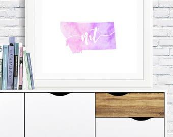 Montana Wall Art - montana printable, montana decor, montana map, montana watercolor, instant download, gallery wall, digital printable