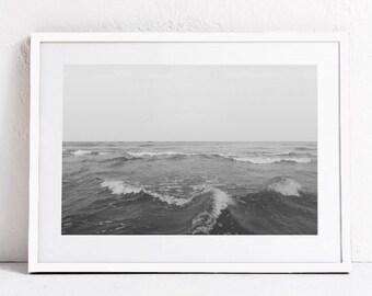 Ocean Print Art PRINTABLE WALL ART, Sea Print, Ocean Photography, Grey Wall Art, Neutral Wall Art Print, Sea Horizon Print, Digital Download