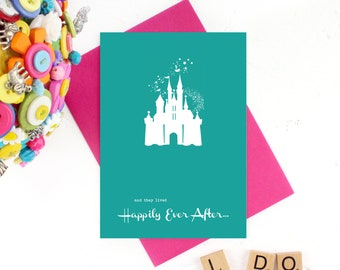 Happily Ever After, Wedding Day Card, Fairy Tale Castle, Lived Happily Ever After, Anniversary Card, Happy Wedding Card, Fairy Tale Wedding