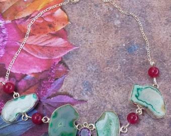 "Ponds of Love~Glamorous Bohemian Gypsy Earthy Druzy Green Agate/Topaz ,Fushia Jade, 925 Sterling Silver Necklace 15"""