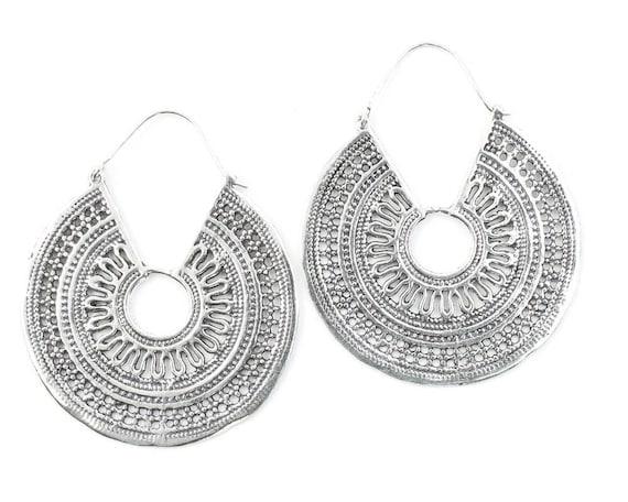 Large Mandala Earrings, Tribal Earrings,  Festival Earrings, Gypsy Earrings, Ethnic Earrings, Mehndi Earrings