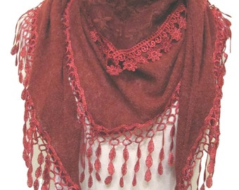 Beautiful knitted triangle scarf/shawl with embroidered lace panel & teardrop tassel tassel trim - red - CFOC0922RD